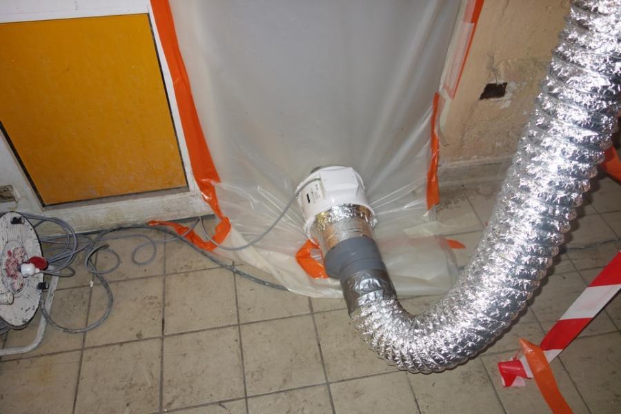 Mise en place de ventilation avant peinture